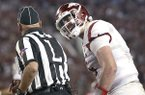 Arkansas quarterback Cole Kelley argues with an official during the first half an NCAA college football game against Alabama, Saturday, Oct. 14, 2017, in Tuscaloosa, Ala. (AP Photo/Brynn Anderson)