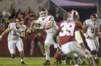 Arkansas quarterback Cole Kelley scrambles while looking downfield in a 41-9 loss at Alabama Saturday, Oct. 14, 2017, at Bryant-Denny Stadium in Tuscaloosa, Ala.