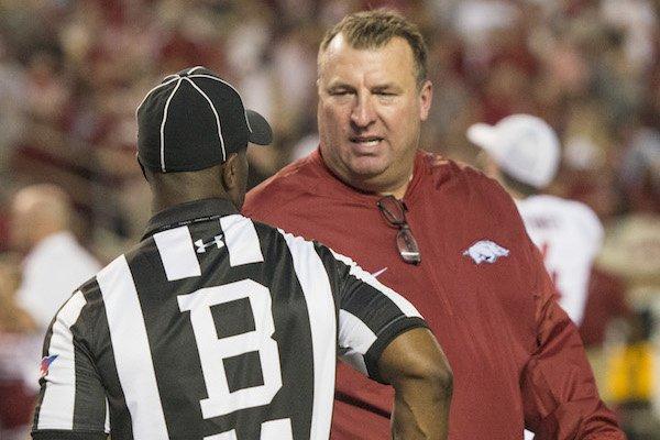 Arkansas coach Bret Bielema talks to a referee during a 41-9 loss at Alabama Saturday, Oct. 14, 2017, at Bryant-Denny Stadium in Tuscaloosa, Ala.