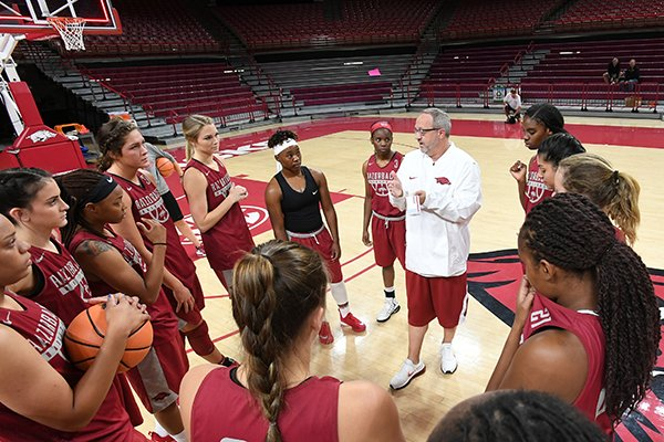 Arkansas coach Mike Neighbors, center, talks to players prior to the start of practice Monday, Oct. 16, 2017, in Fayetteville.