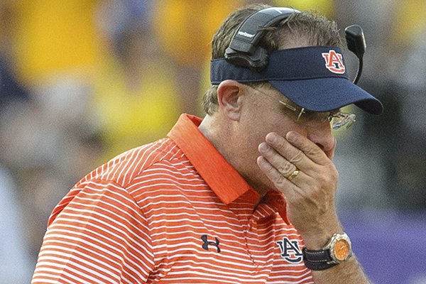 Auburn head coach Gus Malzahn reacts as his team falls behind to LSU in the second half during an NCAA college football game in Baton Rouge, La., Saturday, Oct. 14, 2017. LSU defeated Auburn 27-23. (AP Photo/Matthew Hinton)