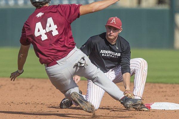 Arkansas shortstop Jax Biggers tags base runner Derek Ripp during a scrimmage Wednesday, Oct. 11, 2017, in Fayetteville.