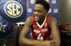 Daryl Macon of Arkansas answers questions during the Southeastern Conference men's NCAA college basketball media day Wednesday, Oct. 18, 2017, in Nashville, Tenn. (AP Photo/Mark Humphrey)