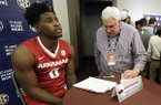 Jaylen Barford, of Arkansas, is interviewed during the Southeastern Conference men's NCAA college basketball media day, Wednesday, Oct. 18, 2017, in Nashville, Tenn. (AP Photo/Mark Humphrey)
