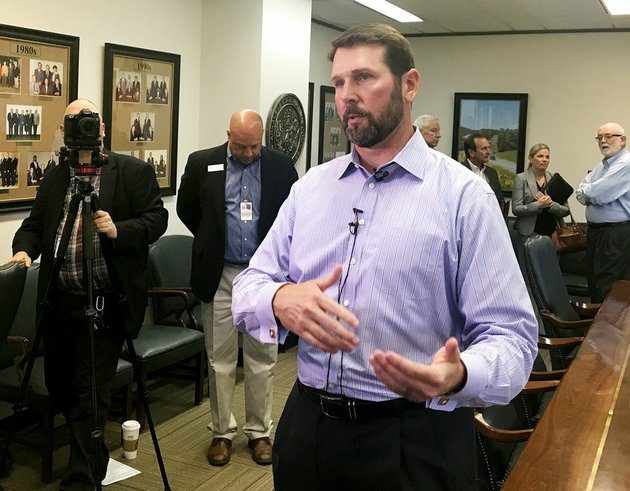 arkansas-department-of-transportation-director-scott-bennett-speaks-to-reporters-after-discussing-a-possible-road-funding-proposal-with-the-state-highway-commission-in-little-rock-on-wednesday-oct-18-2017