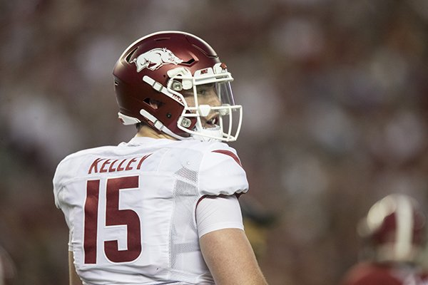 Arkansas quarterback Cole Kelley looks toward the sideline during a game against Alabama on Saturday, Oct. 14, 2017, in Tuscaloosa, Ala.