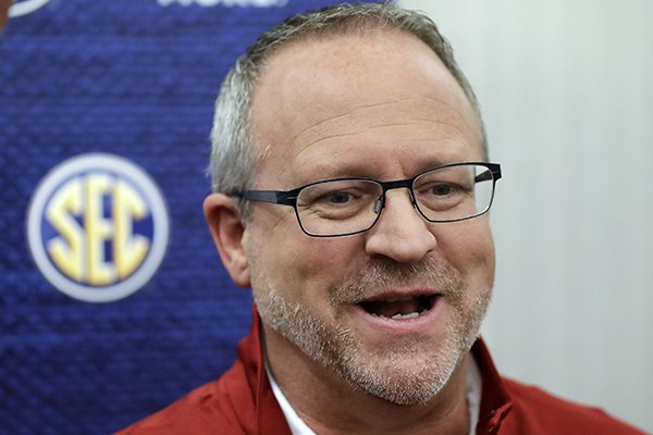 Arkansas head coach Mike Neighbors answers questions during the Southeastern Conference women's NCAA college basketball media day Thursday, Oct. 19, 2017, in Nashville, Tenn. (AP Photo/Mark Humphrey)