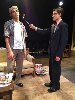 """The Odd Couple"" -- With Thomas Baker, left, as Oscar and Warren McCombs as Felix, 7 p.m. Wednesday, Thursday & Oct. 28, 2 p.m. Oct. 29, Fayetteville High School Performing Arts Center Black Box Theatre. Directed by Warren Rosenaur. $7-$10. 445-1335."