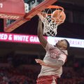 Arkansas forward Darious Hall dunks the ball in transition Friday, Oct. 20, 2017, during the second ...