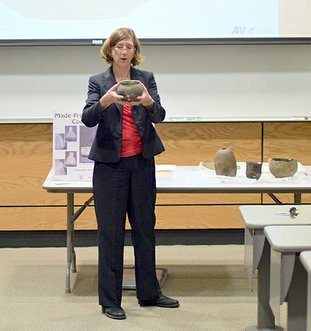 Submitted photo ARCHAEOLOGY LECTURE: Mary Beth Trubitt, station archaeologist at the Arkansas Archaeological Survey Henderson State University research station in Arkadelphia, discussed recent archaeological projects at two local sites during her presentation National Park College Math and Sciences Division's First Friday Lunch and Lecture Series on Oct. 6.