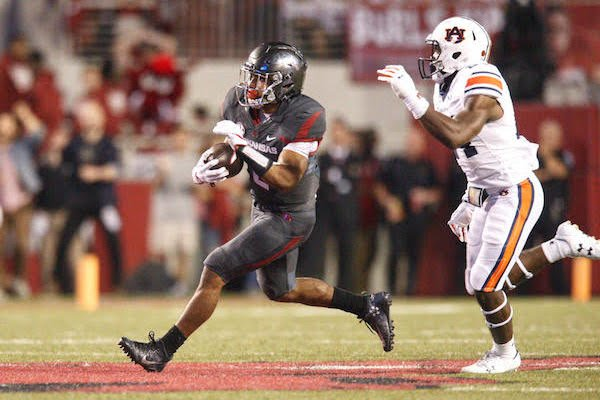 Arkansas freshman running back Chase Hayden during the second quarter of the loss to Auburn on Saturday, Oct. 21, 2017, in Fayetteville.