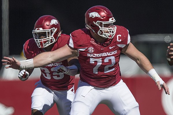 Arkansas center Frank Ragnow (72) blocks during a game against New Mexico State on Saturday, Sept. 30, 2017, in Fayetteville.