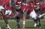 Arkansas offensive lineman Hjalte Froholdt lines up during a game against New Mexico State on Saturday, Sept. 30, 2017, in Fayetteville.