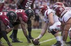 Arkansas center Frank Ragnow prepares to snap the ball during a game against South Carolina on Saturday, Oct. 7, 2017, in Columbia, S.C.