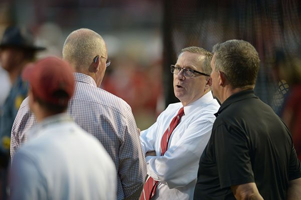 Arkansas athletics director Jeff Long is shown on the sideline during the Razorbacks' 52-20 loss to Auburn on Saturday, Oct. 21, 2017, in Fayetteville.