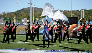 The Sentinel-Record/Mara Kuhn LION PRIDE: The Horatio Lion Marching Band earned First Division ratings Tuesday during the ASBOA Region II Marching Assessment at Lakeside High School.
