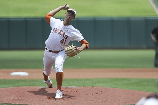 Texas' Morgan Cooper pitches the ball in the championship game in the Big 12 baseball tournament in Oklahoma City, Sunday, May 28, 2017. (AP Photo/Kyle Phillips)
