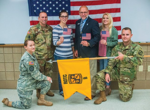 arkansas-state-university-beebe-will-present-a-special-veterans-salute-on-nov-9-on-the-campus-of-asu-beebe-beginning-at-11-am-volunteers-for-the-event-include-kneeling-isabella-franklin-left-and-drake-henderson-and-standing-from-left-rotc-instructor-rex-thomen-cadet-ashley-paden-roger-moore-and-caitlin-harlan