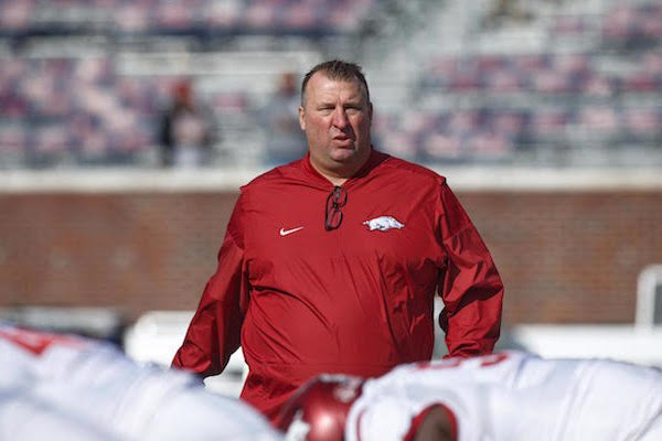 Arkansas coach Bret Bielema before the game at Ole Miss on Saturday, Oct. 28, 2017.
