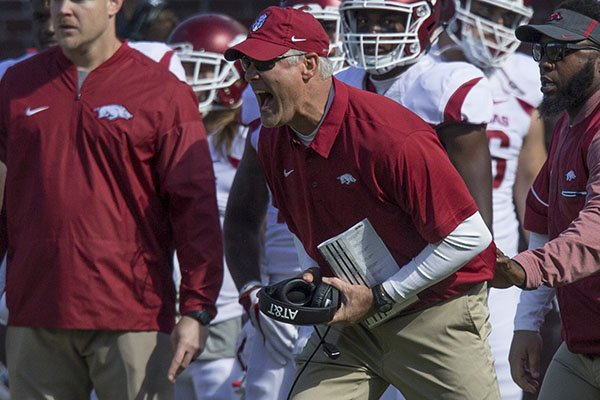 Arkansas defensive coordinator Paul Rhoads yells from the sideline during a game against Ole Miss on Saturday, Oct. 28, 2017, in Oxford, Miss.