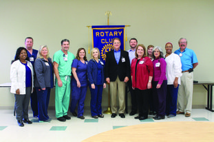 Hospital officials: The lead nursing staff of the Medical Center of South Arkansas educated the Rotary Club about the special services each department does at the hospital Monday. From left, Semekia Amerison, Jared Cater, Shelby Cater, Clint Gathright, Alison Stone, Sonya Justice, CEO Scott Street, Justin Brewer, Amy Triplet, Rachel Wigley, Elizabeth Damers, Angela Smith and Art Noyes.