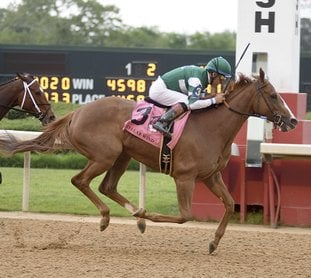 The Sentinel-Record/Mara Kuhn EARLY FAVORITE: Jockey Victor Espinoza rides Stellar Wind to win the Apple Blossom at Oaklawn Park on April 14. Stellar Wind is the early 5-2 pick in the mile and an eighth Breeders' Cup Distaff Saturday at Del Mar.
