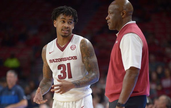 Arkansas guard Anton Beard speaks to coach Mike Anderson against Central Oklahoma Friday, Oct. 27, 2017, during the second half in Bud Walton Arena.
