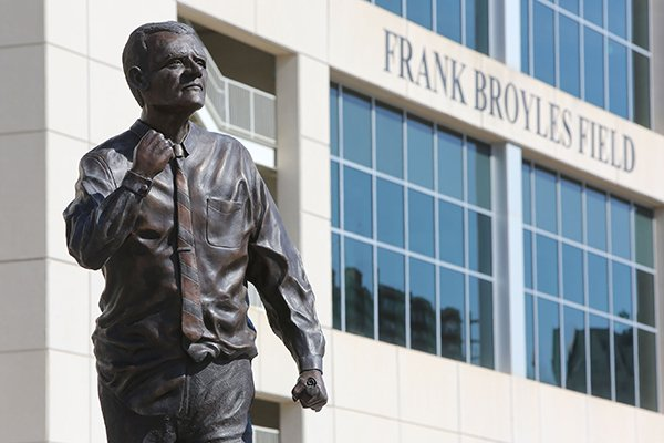 A statue of Frank Broyles is shown on Wednesday, Feb. 1, 2017, on the University of Arkansas campus in Fayetteville.