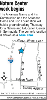 A map showing the Nature Center.