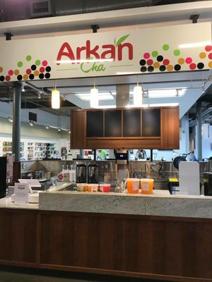 Pictured: ArkanCha tea in the University of Arkansas bookstore prior to opening August 2017.