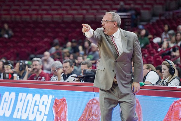 arkansas-coach-mike-neighbors-is-shown-during-an-exhibition-game-against-northeastern-state-on-thursday-nov-2-2017-in-fayetteville