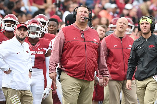 Arkansas coach Bret Bielema watches a replay during a game against Coastal Carolina on Saturday, Nov. 4, 2017, in Fayetteville.