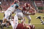 Arkansas quarterback Cole Kelley scores the game-winning touchdown during the fourth quarter of a game against Coastal Carolina on Saturday, Nov. 4, 2017, in Fayetteville.
