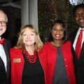 University of Arkansas Chancellor Joe Steinmetz and wife Sandy (from left) and Monica and Victor Wil...