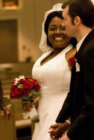 """Staci Croom-Raley and Brian Raley were married on May 26, 2007, at Christ the King Catholic Church. """"Everything is either on the 13th or the 26th,"""" says Staci. """"We got engaged on Oct. 13, we got married on May 26, his birthday is the 13th, mine is the 26th."""""""