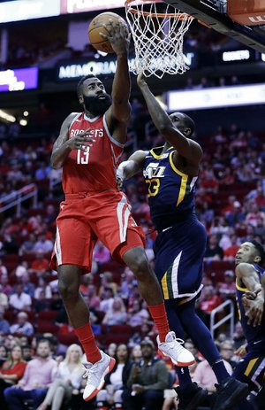 Houston Rockets guard James Harden (13) scored a career-high 56 points in the team's 137-110 victory over the Utah Jazz on Sunday.