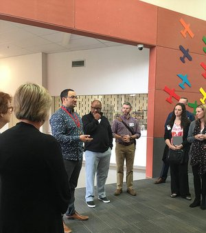 Daniel Birch, principal of Hobsonville Point Primary School in Auckland, New Zealand, speaks to a group of Arkansas educators visiting his school last month. The group of mostly teachers and school administrators traveled to New Zealand to tour schools and learn more about the country's educational system.
