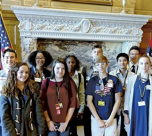 Submitted photo GIFTED YOUNG VOTERS: Hot Springs World Class High School gifted and talented students recently attended the Arkansas secretary of state office's Young Voter Workshop in Little Rock and were able to tour the state Capitol building. Hot Springs participants were front, from left, Rachel Snider, Kailey Mitchell, Aidan Hunter and Abigail Robertson, and back, from left, Elias Parker, Audreana Greene, Teaijah Lambert, Jonah Lawson, Sebastian Martinez and Eduardo Naranjo.