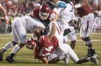 Arkansas tight end Austin Cantrell (44) fumbles at the 1-yard line during the fourth quarter of a game against Coastal Carolina on Saturday, Nov. 4, 2017, in Fayetteville.