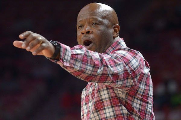 Arkansas coach Mike Anderson directs his team against Missouri Western Friday, Nov. 3, 2017, during the second half in Bud Walton Arena.