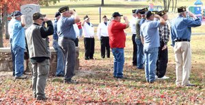 Photo by Mike Eckels Veterans salute the American flag as it was raised at Veterans Park in Decatur Nov. 4.