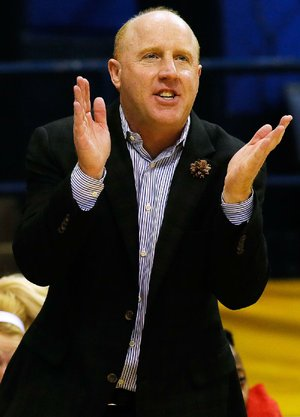 ASU head coach Brian Boyer reacts during second half action against Appalachian St. in the quarterfinal round of the Sunbelt Tournament in New Orleans, March 11, 2015.
