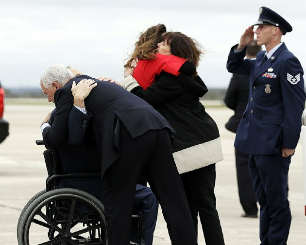 vice-president-mike-pence-and-his-wife-karen-right-on-wednesday-greet-texas-gov-greg-abbott-in-wheelchair-and-abbotts-wife-cecilia-in-san-antonio-the-pences-arrived-to-meet-with-victims-of-sundays-church-shooting