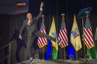 The Associated Press HAPPY DAY: New Jersey Gov.-elect Phil Murphy leaps as he jumps onto the stage at his victory party Tuesday in Asbury Park, N.J.