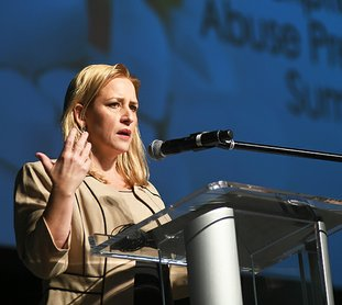 The Sentinel-Record/Mara Kuhn DRUG SUMMIT: Arkansas Attorney General Leslie Rutledge addresses the sixth annual Arkansas Prescription Drug Abuse Prevention Summit Thursday at the Hot Springs Convention Center.