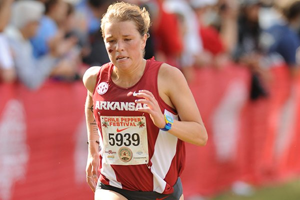 Arkansas' Nikki Hiltz comes into the finish line Saturday, Oct. 1, 2016, during the 28th annual Chile Pepper Cross Country Festival at Agri Park in Fayetteville.