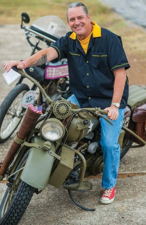 Dr. Scott Byrd of Arkadelphia owns numerous motorcycles, including antique models such as these. He plans to ride his Harley-Davidson military-style bike, a 1942 Harley-Davidson WLA, in 2019 in Europe in observance of the 75th anniversary of D-Day. He rode his 1916 Harley-Davidson F-head in the 2016 Motorcycle Cannonball Endurance Run.