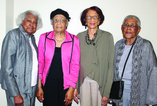 Charter members: Charter members of The Traveling Friends are, from left, Bunia S. Baxter, president; Lucille McCall, secretary; Thelma Arbor, the only member from Magnolia and Lois Meekins, the only member from El Dorado. Baxter, McCall and Arbor met in 1944, as freshmen at Arkansas AM&N, now the University of Arkansas at Pine Bluff. Gladys Davis, fifth living charter member and vice president, is not pictured. Janice McIntyre/News-Times