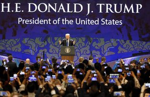 The Associated Press SUMMIT: U.S. President Donald Trump speaks Friday on the final day of the APEC CEO Summit on the sidelines of the Asia-Pacific Economic Cooperation leaders' summit in Danang, Vietnam.