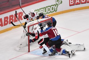 The Associated Press OUTVOTED: Ottawa Senators Christopher DiDomenico (49) scores a goal in the second period of the NHL Global Series game between Colorado Avalanche and Ottawa Senators at Ericsson Globe in Stockholm Friday.